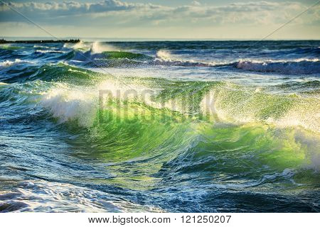 Beautiful green sunrise wave as natural background