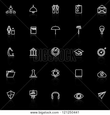 Job resume line icons with reflect on black stock vector