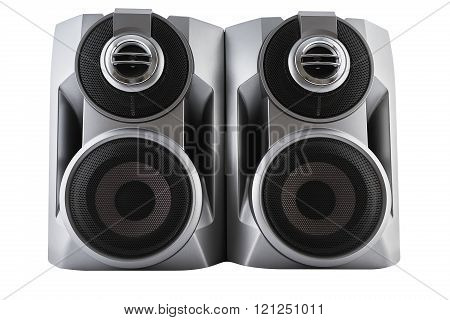 Black speaker isolated on white with clipping path