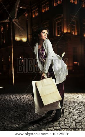 Elegant lady holding shopping bags, on the night