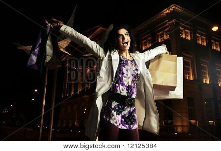 Joyful lady holding shopping bags, on the night