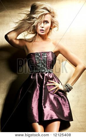 Fashion style photo of beautiful blond lady