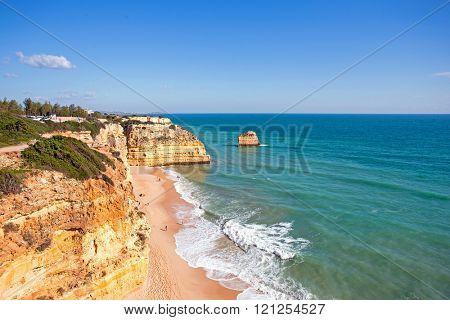Famous beach Praia da Marinha in the Algarve Portugal