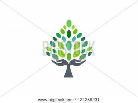 tree hand logo, hand tree symbol, nature wellness health icon vector design