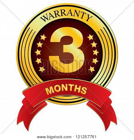 Warranty for Three Months Design isolated on white background. Vector Warranty for Months.