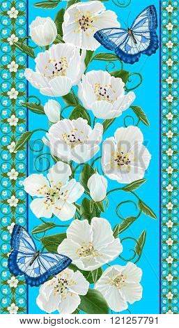 Vertical Floral Border. Pattern,  Seamless. Ornament Of White Flowers, Green Leaves And Beautiful Bu