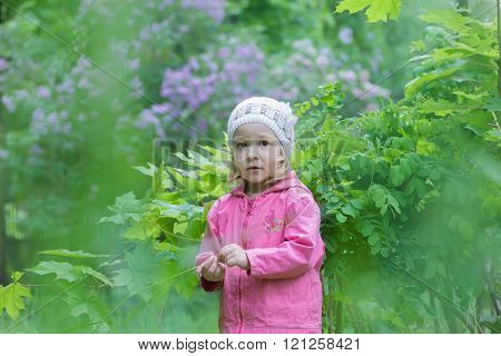 Two years old cute girl wearing white knitted hat at green spring garden lilac shrubbery background