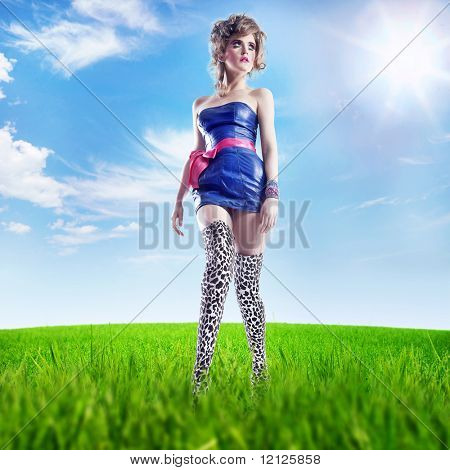 Young lady on a summer meadow - full color version
