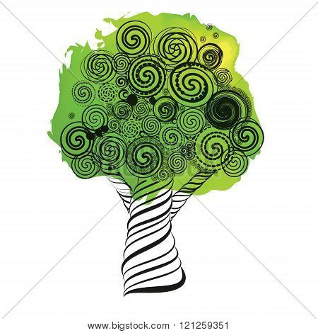 Fabulous Tree With Curls. Doodle Style. Ink Pen Sketch On Watercolor Spot. Grunge Style. Vector Illu