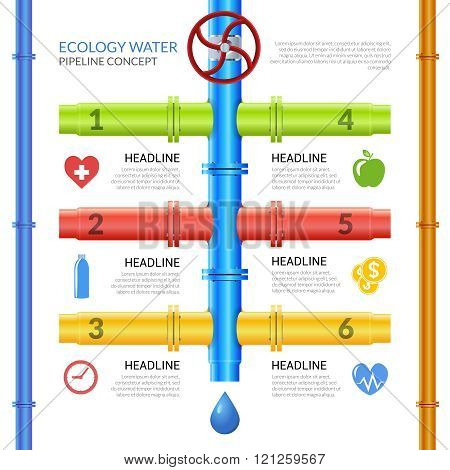 Ecology Water Pipeline Infographics