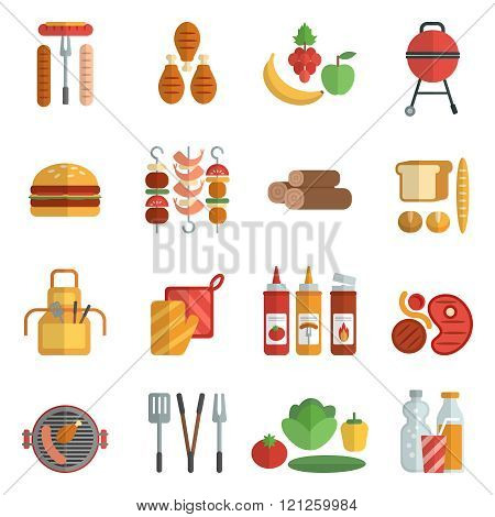 Bbq party flat icons set