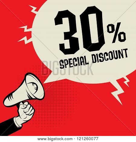 Bamegaphone Hand, Business Concept With Text Special Discount