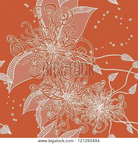 Seamless Floral Doodle Background Pattern With Leaves. Design  Zentangle. Decorative Hand Drawn. Ske