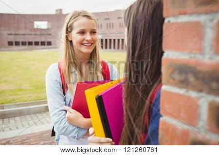 Smiling students talking outdoor at university
