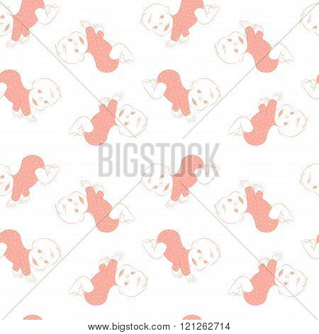 Vector seamless pattern with crawling babies.