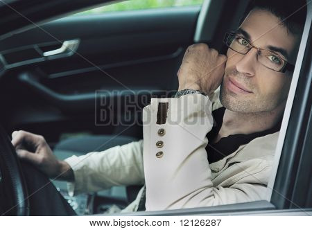 Man sitting in a car
