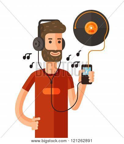 Cartoon man listening to music. vector illustration