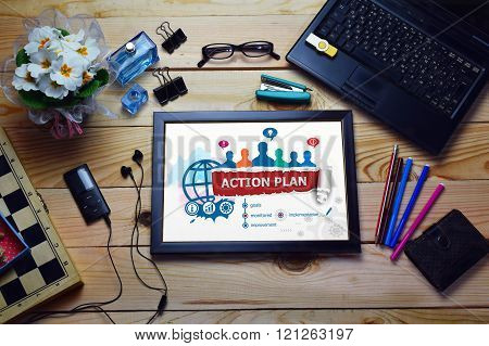 Action Plan Concept And Group Of People.