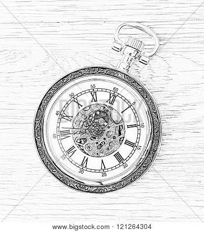 Illustration Of Retro Pocket Watch