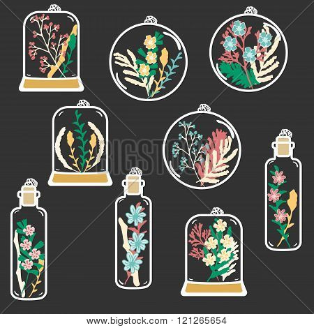 Set of hand drawn floral terrariums. Vector clip art