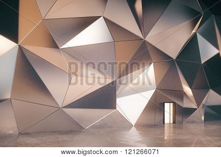 Abstract Interior With 3D Graphite Wall With Door And Concrete Floor, 3D Render