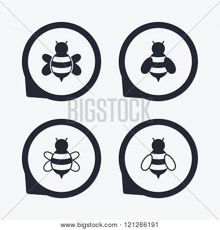 Honey bees icons. Bumblebees symbols.