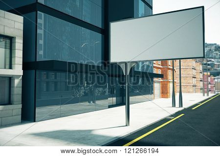 Blank Billboard On The Street Near Business Center, Mock Up, 3D Render