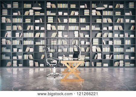 Big Private Library With Glassy Table And Concrete Floor, 3D Render