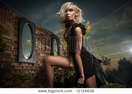 Vogue style photo of a beautiful blonde