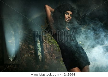 Horror style photo of a young lady