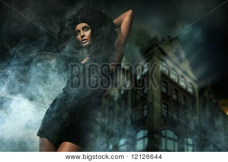 Horror style photo of a beautiful lady