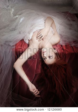 Romantic style photo of a young ginger hair lady