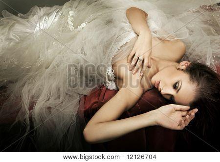 Delicate brunette posing
