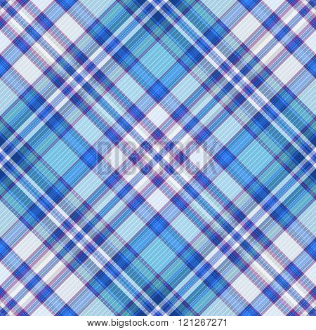 Seamless Blue, Violet And White Diagonal Pattern