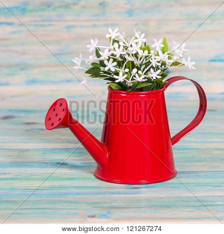 Red Watering Can On Color Wood Table.