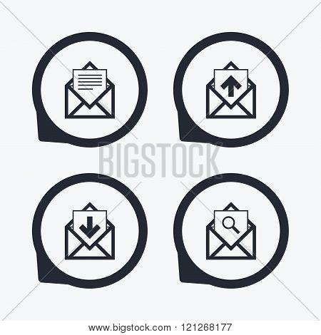 Mail envelope icons. Message document symbols.