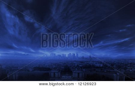 Stormy clouds over city