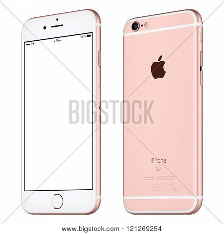 Rose Gold Apple Iphone 6S Mockup Slightly Clockwise Rotated Front View With White Screen