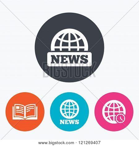 News icons. World globe symbols. Book sign.