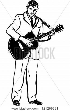 Vector Sketch Of A Man Playing An Acoustic Guitar