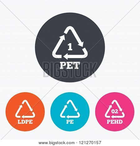 PET, Ld-pe and Hd-pe. Polyethylene terephthalate