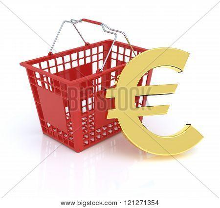 Shopping Basket On White Background With Euro Symbol