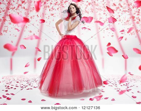 Beauty lady with roses flakes