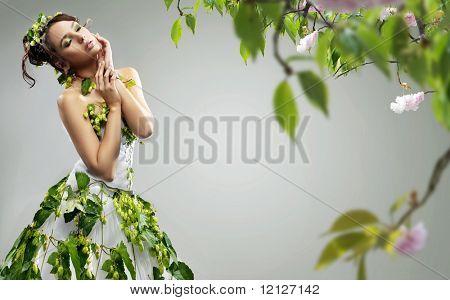 Young beauty wearing ecologic dress