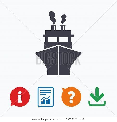Ship or boat sign icon. Shipping delivery symbol