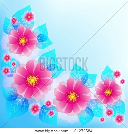 Festive Blue Background With Pink Flowers And Leaves