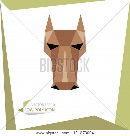 low poly animal icon. vector hourse