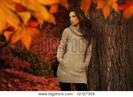 Mujer joven en un romántico paisaje de otoño