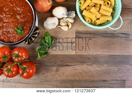 Top view of ingredients for an Italian Meal. Horizontal format with copy space.