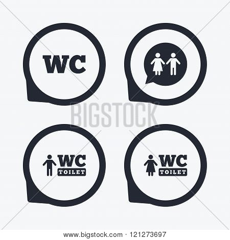 WC Toilet icons. Gents and ladies room.
